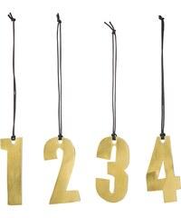 Bloomingville Závěsná kovová čísla Gold - set 4 ks