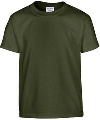 Silnější bavlněné tričko Gildan - Vojenská zelená XS