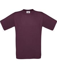 Silnější bavlněné tričko - Vínově červená S