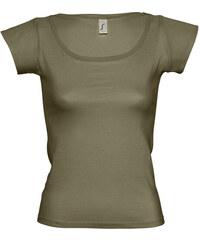 Tričko s širokým výstřihem - Vojenská zelená S