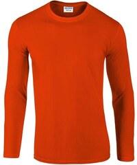 Jemné tričko Gildan s dlouhým rukávem - Oranžová S