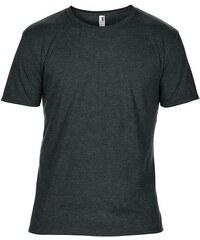 Hedvábné tričko Anvil - Tmavě šedý melír S