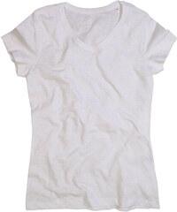 Prodloužené melírované tričko - Bílá S