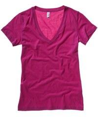 Tričko s hlubokým výstřihem do V - Malinově růžová S