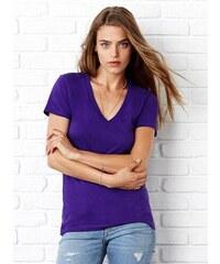 Tričko s hlubokým výstřihem do V - Fialová S