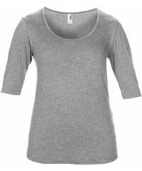 Hedvábné tričko s 3/4 rukávy - Šedý melír XS