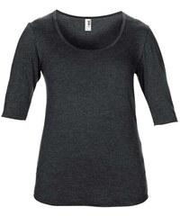 Hedvábné tričko s 3/4 rukávy - Tmavě šedý melír XS