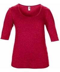Hedvábné tričko s 3/4 rukávy - Červená XS