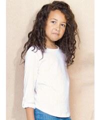 Dívčí tričko s rukávy na knoflík - Bílá 4-5