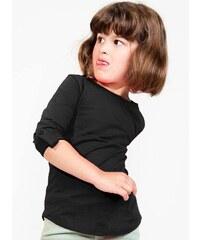 Dívčí tričko s rukávy na knoflík - Černá 8-9