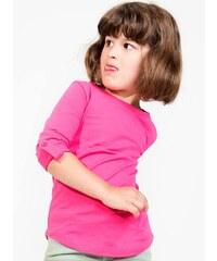 Dívčí tričko s rukávy na knoflík - Fuchsiová 4-5