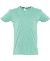 Tričko s výstřihem do V - Mentolově zelená S