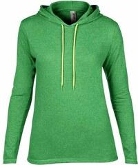 Lehká mikina s kapucí - Zelená žíhaná S