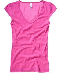 Tričko s hlubokým výstřihem - Malinově růžová M