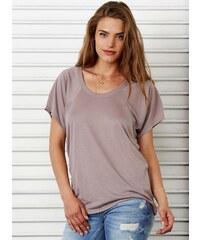 Oversized tričko - Středně hnědá S