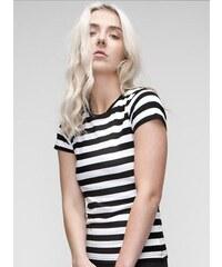 Hravé tričko s pruhy - Bílá a černá S