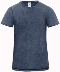 Pánské tričko s džínovým efektem - Vyšisovaná modrá S