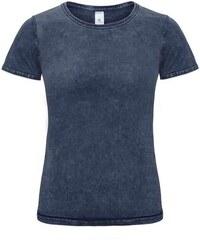 Dámské tričko s džínovým efektem - Vyšisovaná modrá XS