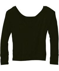 Tričko s širokým výstřihem - Černá S