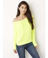 Tričko s širokým výstřihem - Neonově žlutá S