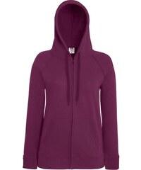 Mikina s kapucí na zip - Vínově červená XS