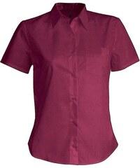 Košile s krátkým rukávem Kariban - Vínová XS
