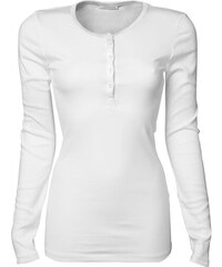 Pohodlné tričko s dlouhým rukávem - Bílá S