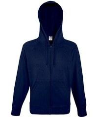 Lehká mikina s kapucí na zip - Temně modrá S