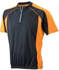 Cyklistické tričko James & Nicholson - černá s oranžovou S