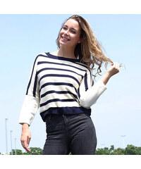 Lesara Gestreiftes Strickshirt Blau-Weiß - S