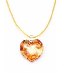 Murano Náhrdelník skleněné srdce - kombinace barev - zlatá, krémová, měděná - Passione