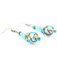 Murano Náušnice skleněná perla s krystaly - azurové