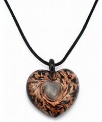 Murano Náhrdelník skleněné srdce - kombinace barev - černá, zlatá - Passione