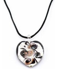 Murano Náhrdelník skleněné srdce - kombinace barev - stříbrná, černá, zlatá - Passione