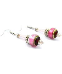 Murano Náušnice skleněná perla s krystaly - růžová