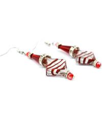 Murano Náušnice skleněná perla s krystaly - červená