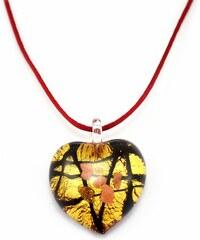 Murano Náhrdelník skleněné srdce - kombinace barev - černá, zlatá, měděná - Passione