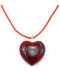Murano Náhrdelník skleněné srdce - kombinace barev - červená, černá - Passione