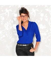 Blancheporte Jednobarevná košilová halenka modrá