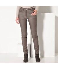 Blancheporte Kalhoty v koženém vzhledu hnědošedá