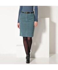 Blancheporte Manšestrová rovná sukně modrý melír