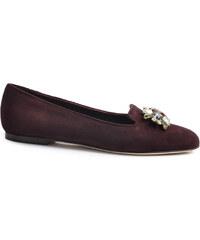 Mocassins Dolce & Gabbana en chevreau rouge bourgogne