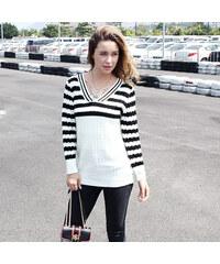 Lesara Pullover Schwarz-Weiß - Weiß - S