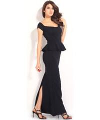 001 Společenské dlouhé černé šaty pouzdrové