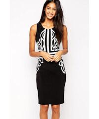 001 Dámské společenské šaty černé s bílým vzorováním