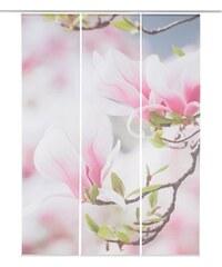 HOME WOHNIDEEN Schiebegardine Langdon (3 Stück mit Zubehör) rosa H/B: 245/60 cm