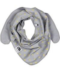 Lamama Dětský oboustranný šátek s trojúhelníčky - šedý