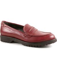 Mocassins Car Shoe pour femme en Cuir veau bordeaux