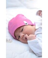 Lamama Dívčí novorozenecká čepice - melange růžová
