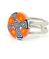 Murano Prsten skleněný - oranžová, černá, bílá - Millefiori